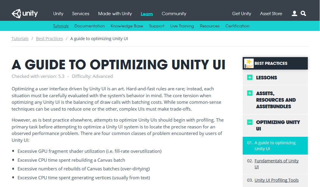 Optimizing Unity UI
